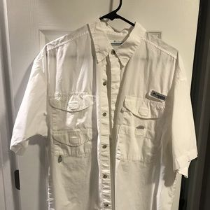 Columbia PFG short sleeve button down (white)